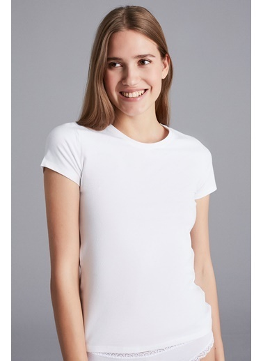 Penti Siyah Hot Tech Basic Thermal Tshirt Beyaz